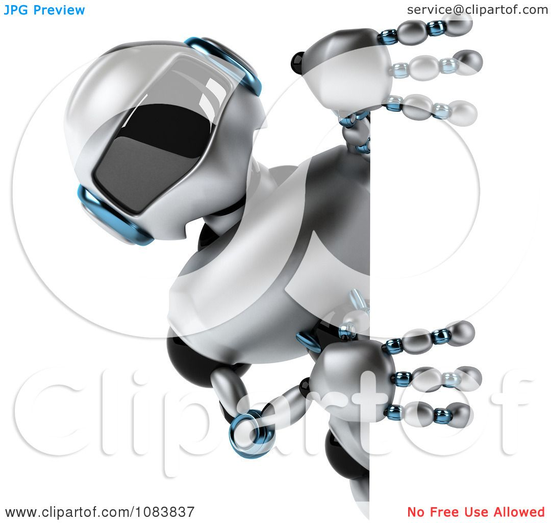 Clipart 3d Chrome Robot Holding A Sign Royalty Free Cgi