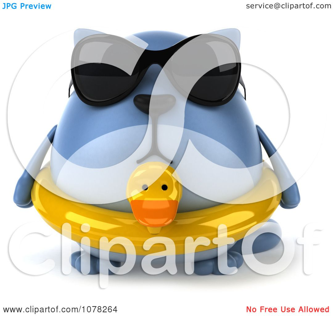 Clipart 3d Chubby Blue Cat Wearing Shades And An Inner Tube - Royalty Free  CGI Illustration