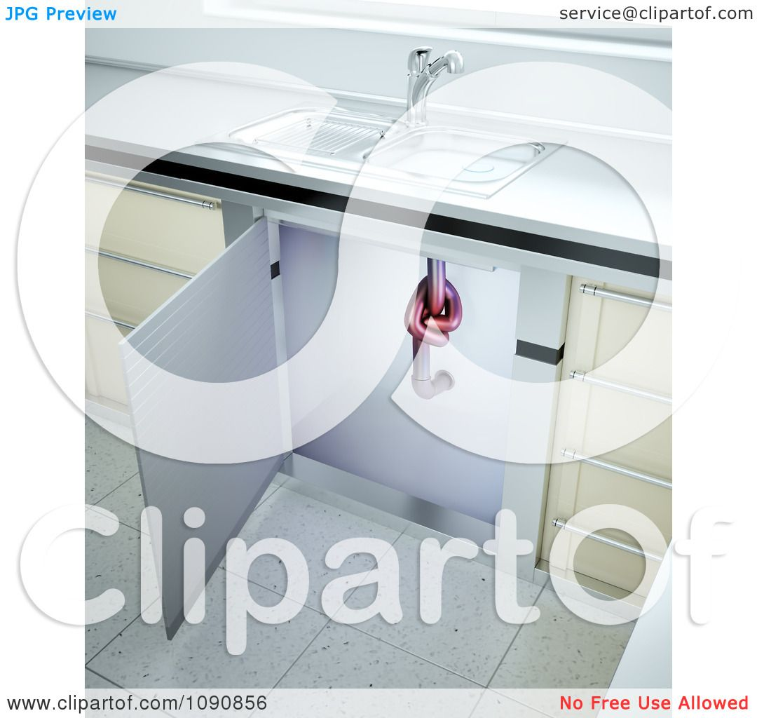 Clipart 3d Clogged Kitchen Sink Drain Pipe With A Knot