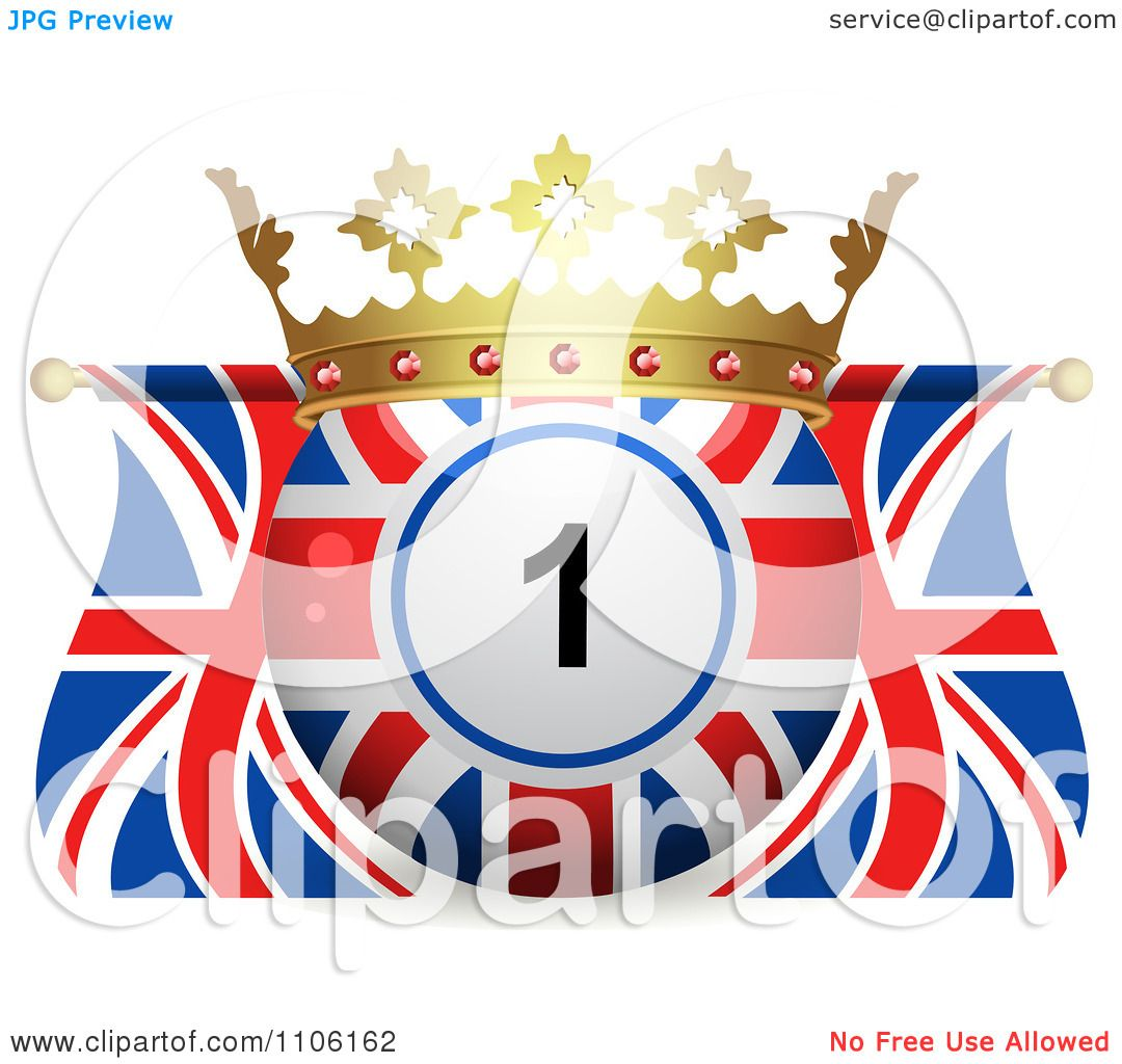 Clipart 3d Crowned Bingo Ball And Union Jack Flags ...