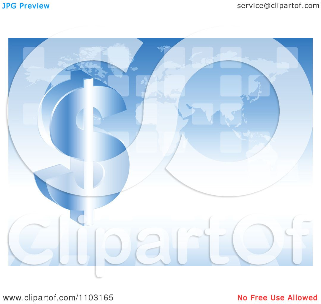 Clipart 3d Dollar Symbol And Transparent Tiles Over A Blue World Map