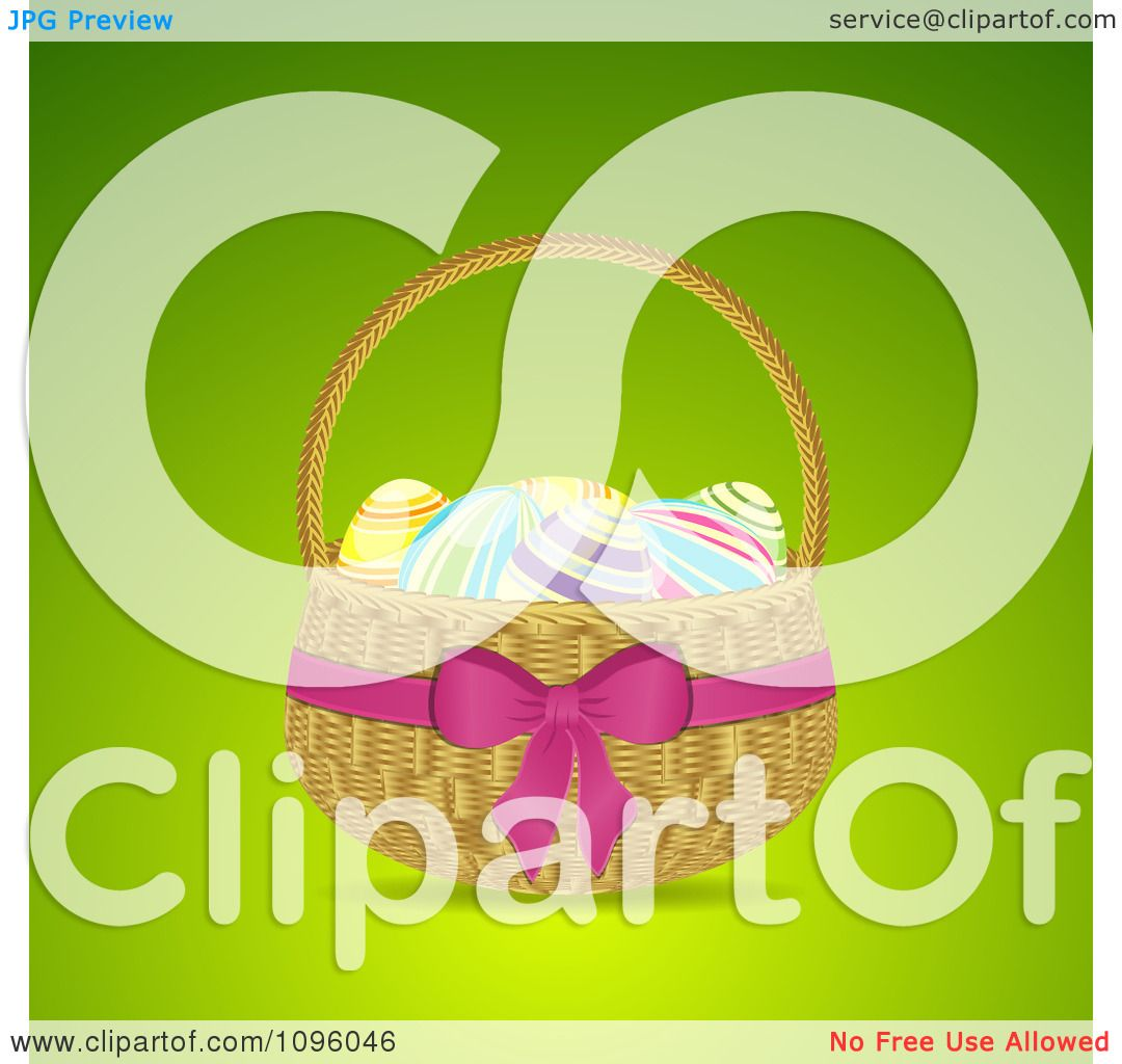 Clipart 3d Easter Egg Basket With A Pink Bow And Ribbon