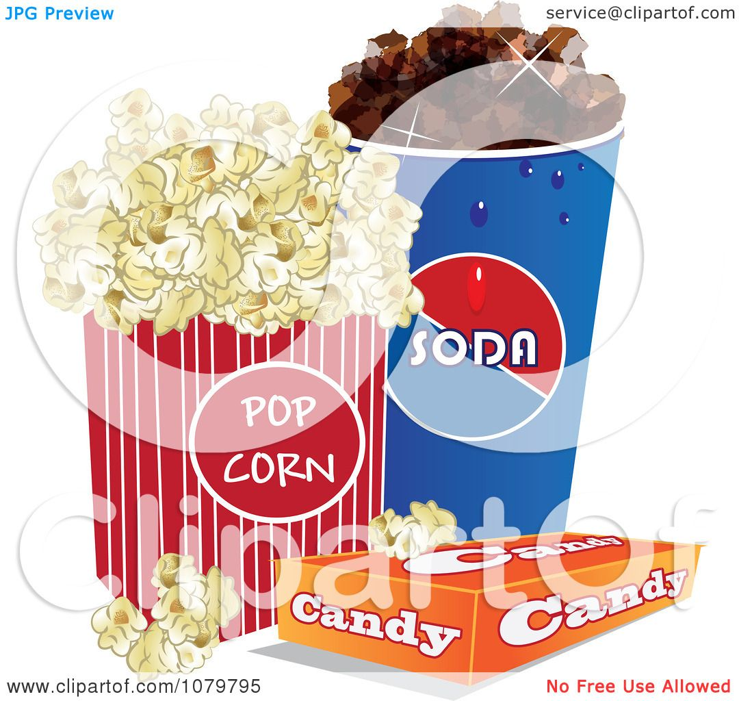 Clipart 3d Fountain Soda Box Of Candy And Movie Popcorn