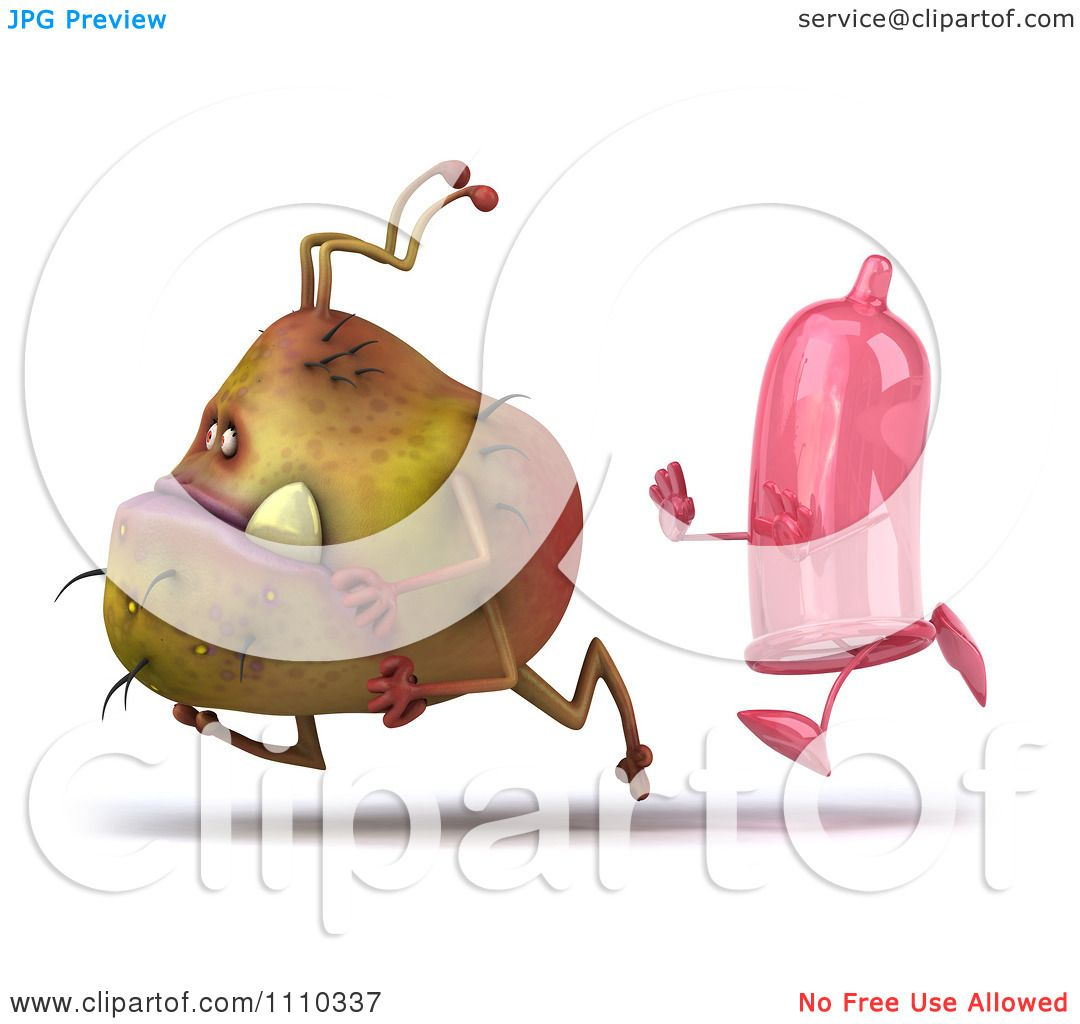 Clipart 3d Germ Monster Running From A Condom 2 - Royalty Free CGI ...