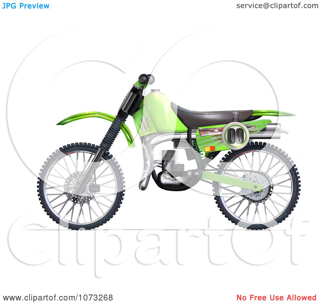 Clipart 3d Green Motocross Dirt Bike 2 Royalty Free Cgi