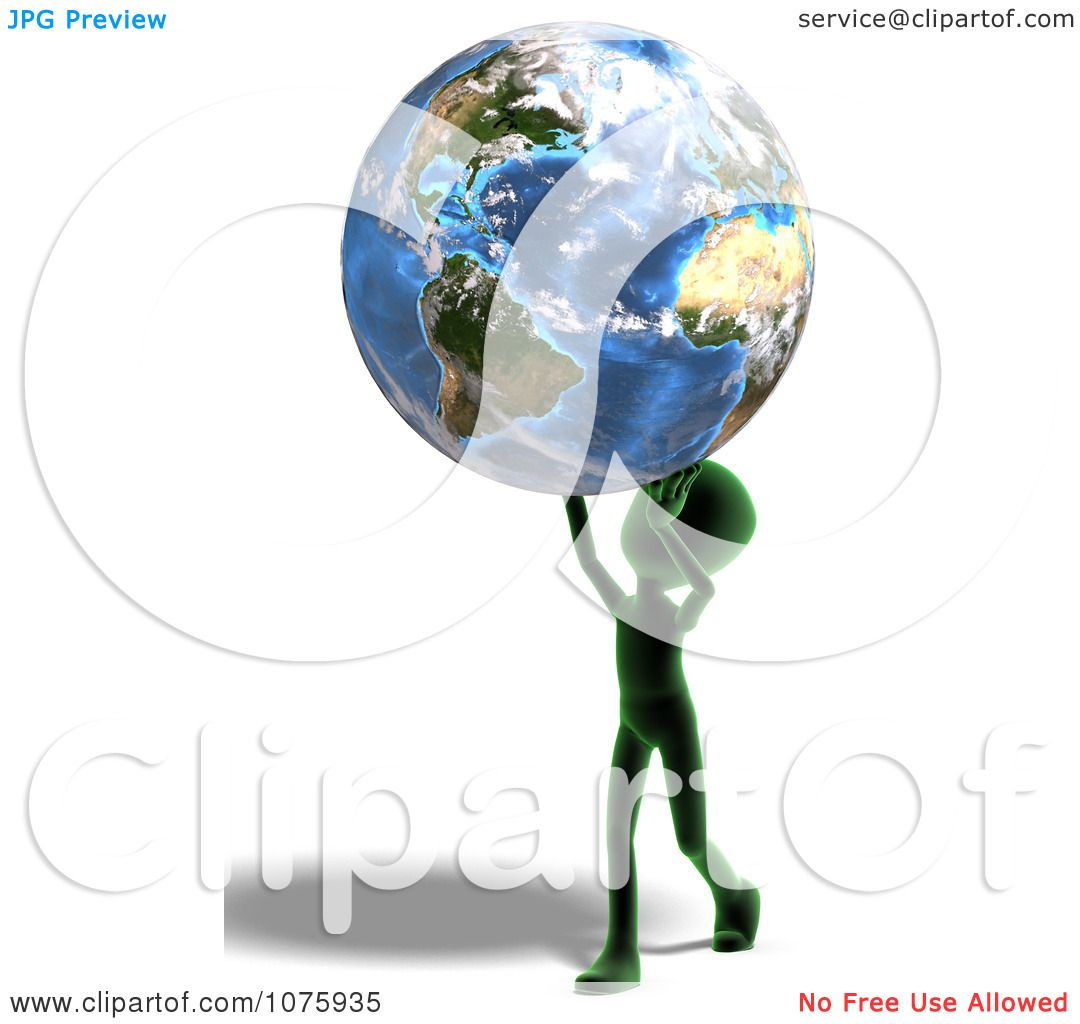 clipart 3d green person carrying earth royalty free cgi