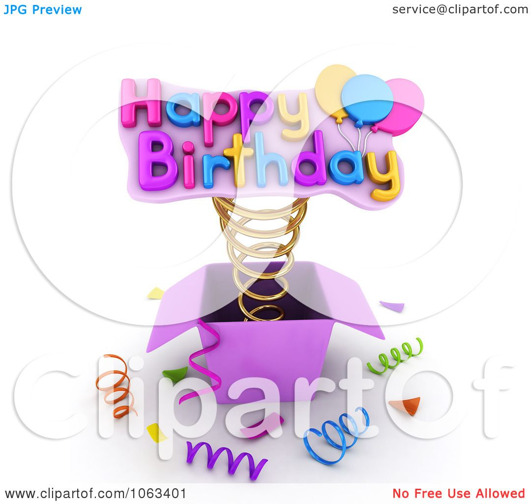 Clipart 3d Happy Birthday Springing Out Of A Gift Box