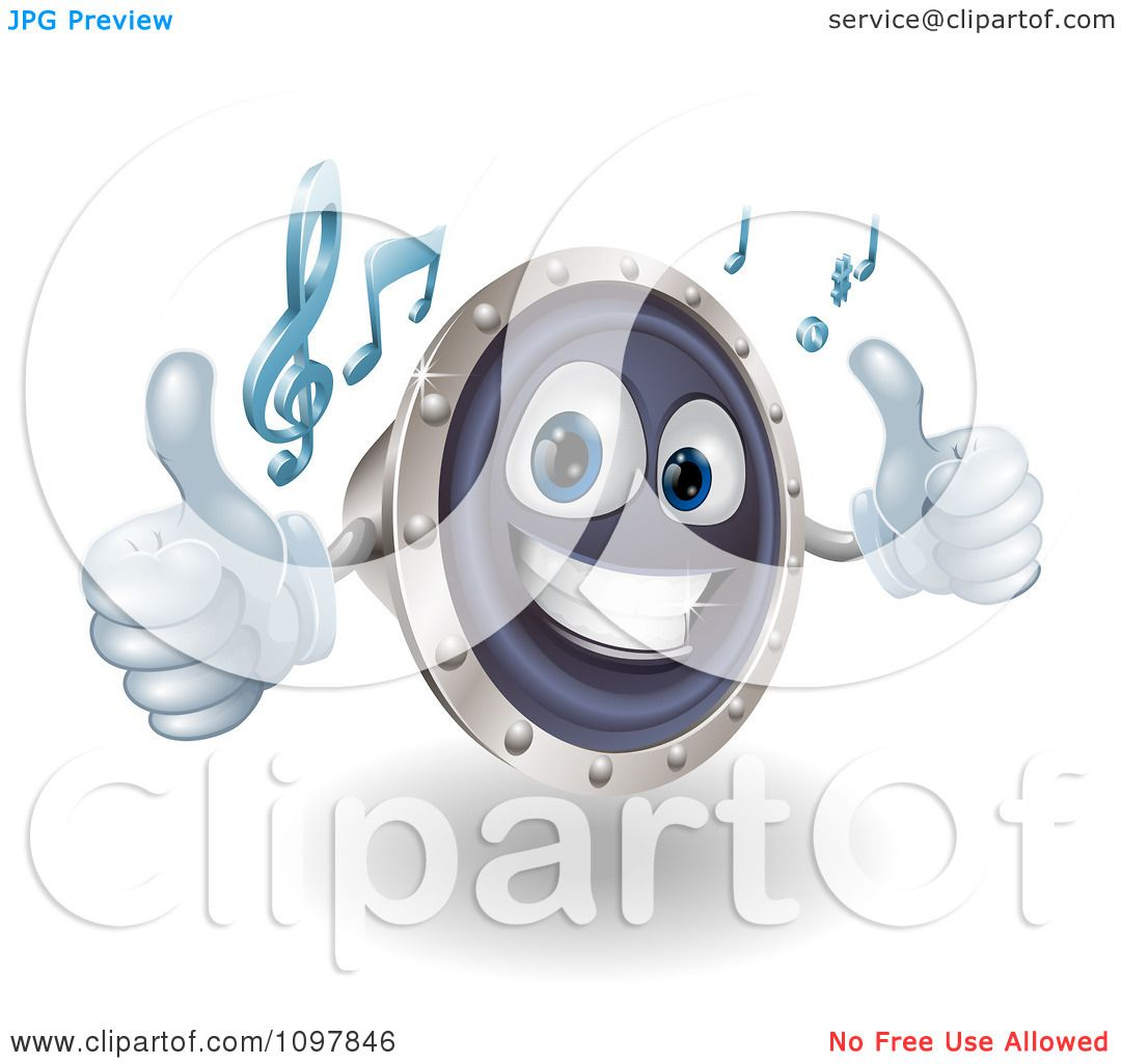 Clipart 3d Happy Music Speaker Mascot Holding Two Thumbs Up And Playing Tunes