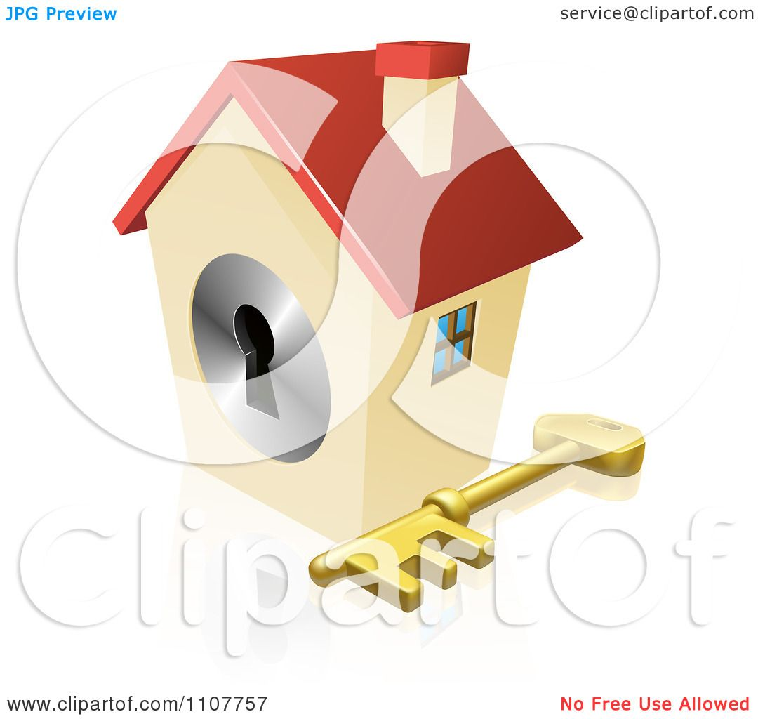 Vector Key Illustration: Clipart 3d House Padlock With A Skeleton Key