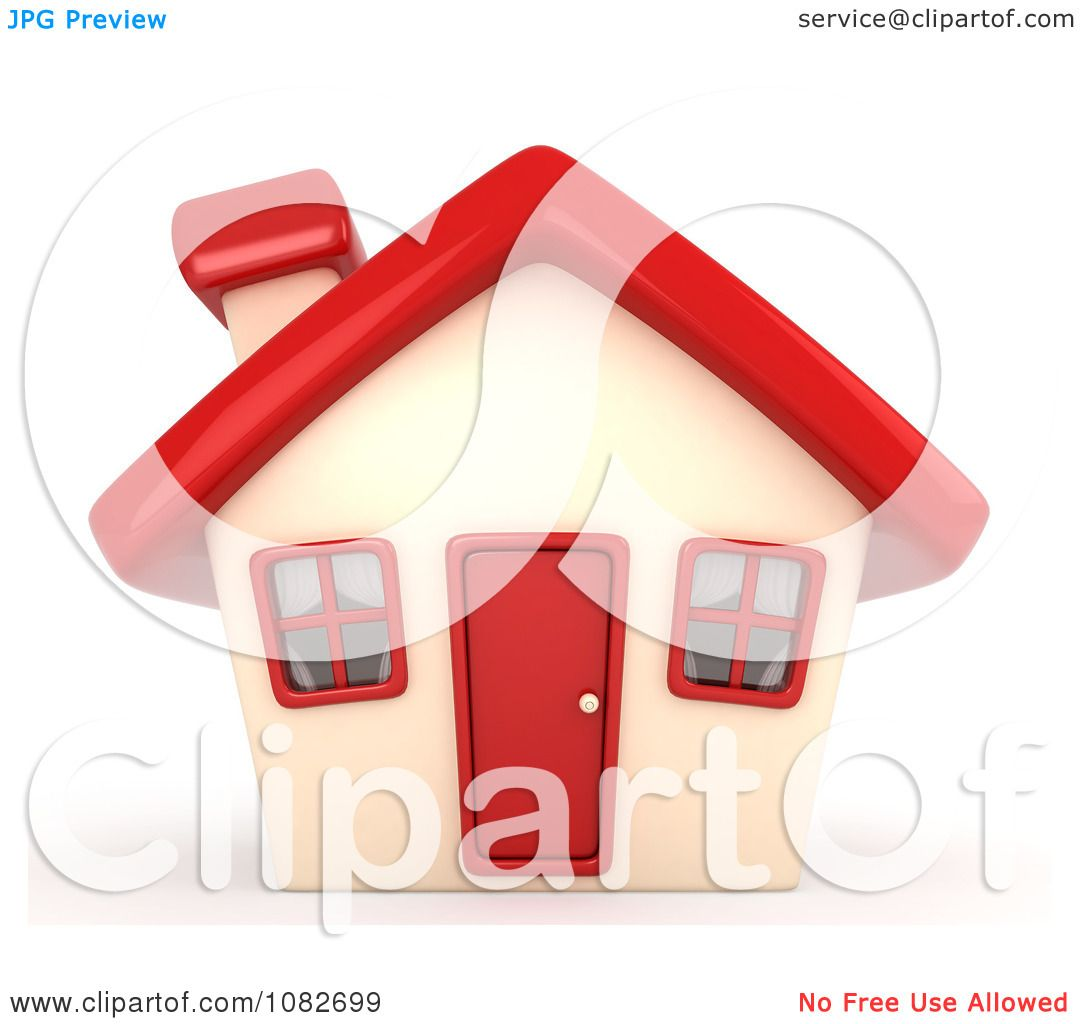Clipart 3d House With A Red Roof Door And Windows