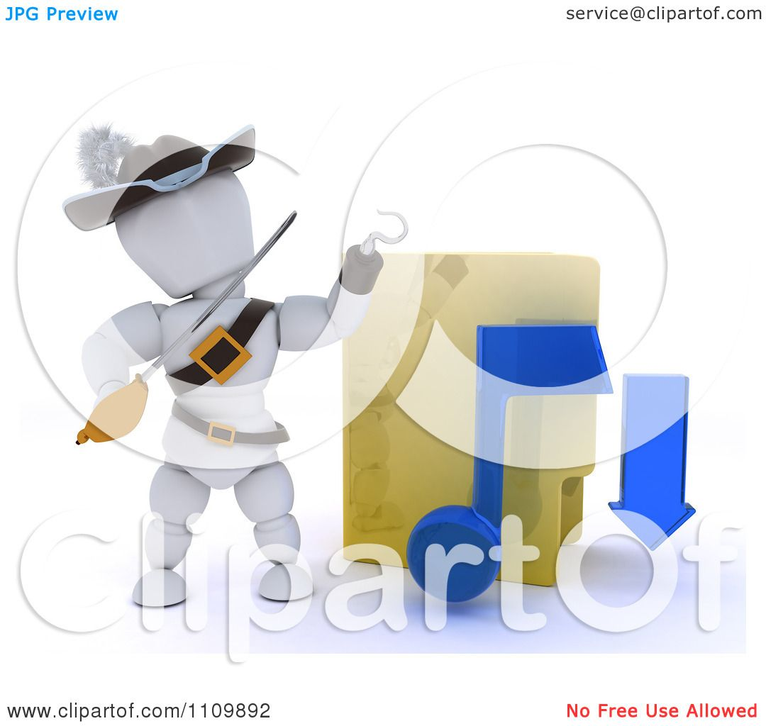 Clipart 3d Illegal Music Download Pirate White Character