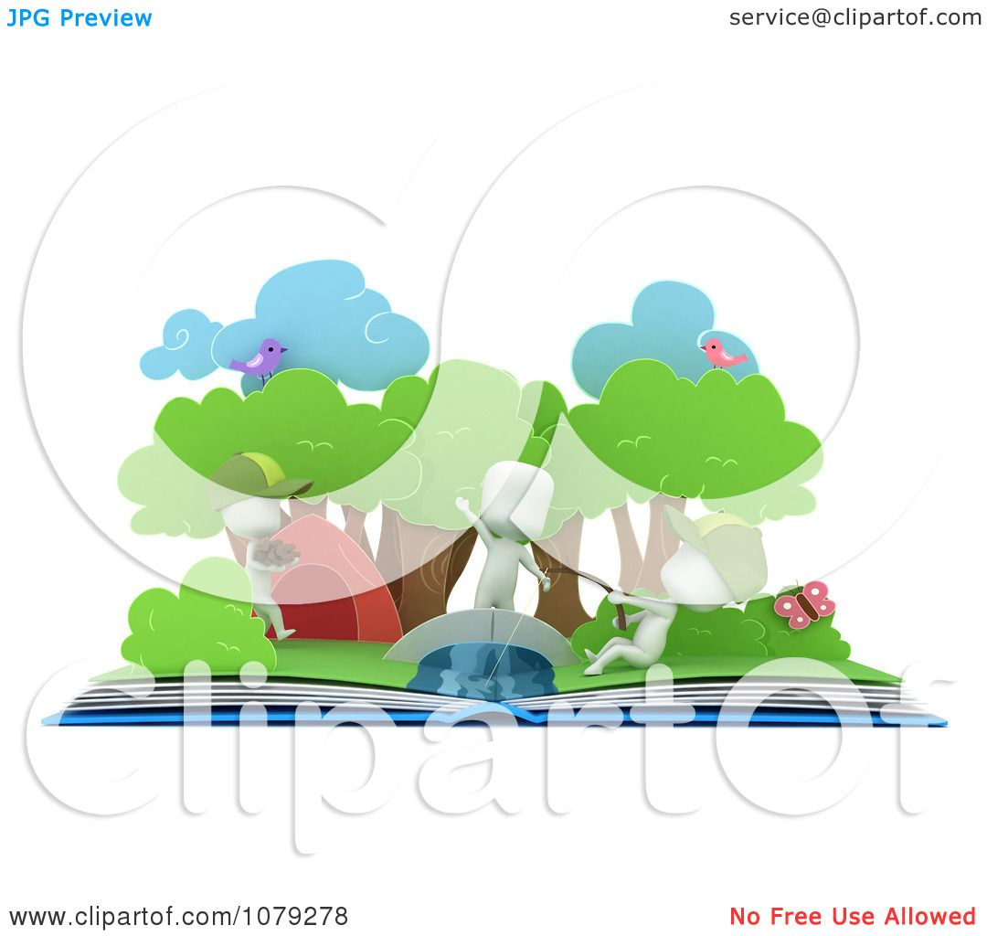 Clipart 3d Ivory Kids Fishing In A Camping Pop Up Story