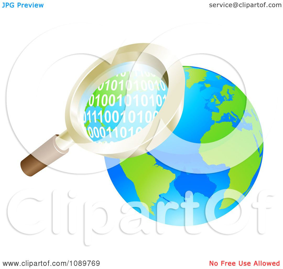 Clipart 3d Magnifying Glass Searching Globe Binary Coding ...