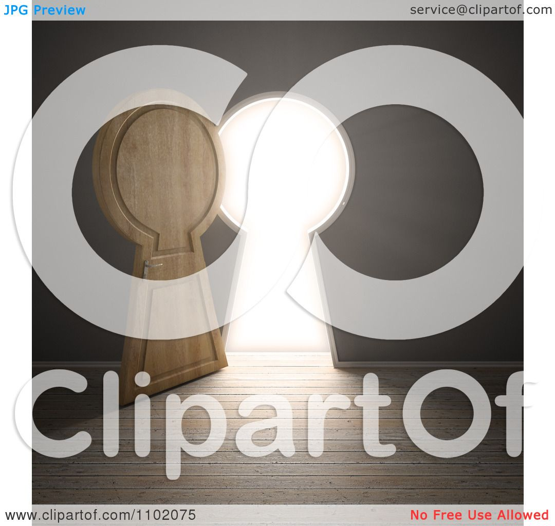 Clipart 3d Open Keyhole Door With Bright Light - Royalty ...