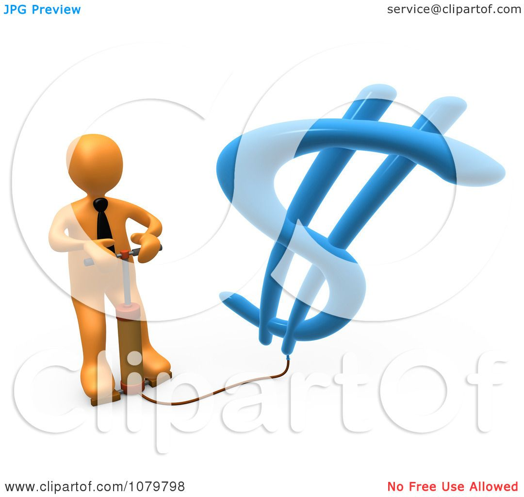 Clipart 3d Orange Businessman Inflating A Dollar Symbol With A Pump -  Royalty Free CGI Illustration