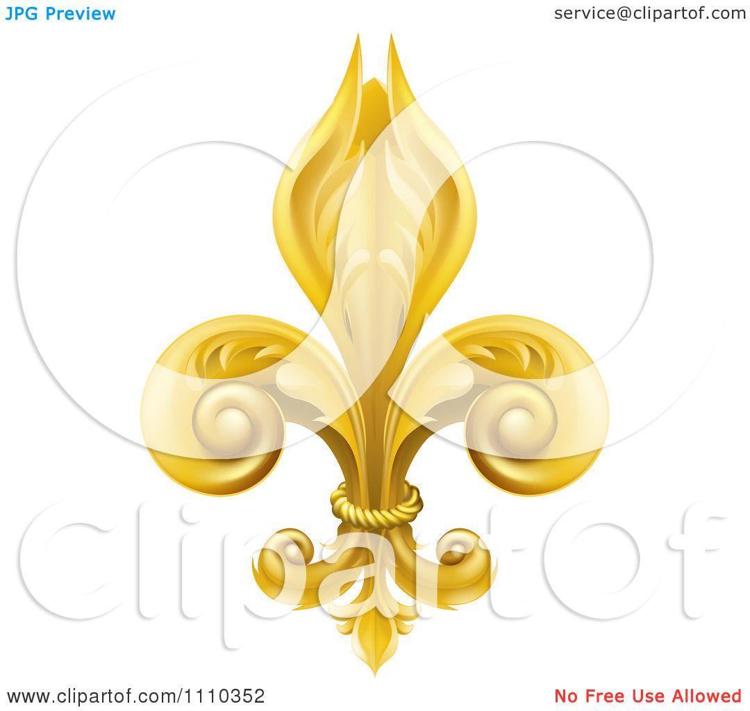Clipart 3d Ornate Golden Fleur De Lis Lily Symbol Royalty Free
