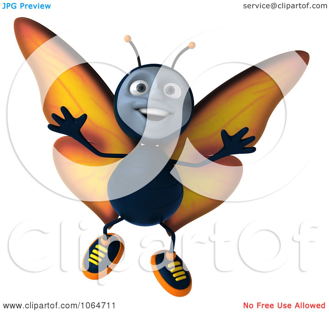 Clipart 3d Papillon Butterfly Jumping 1 Royalty Free Cgi Illustration By Julos 1064711