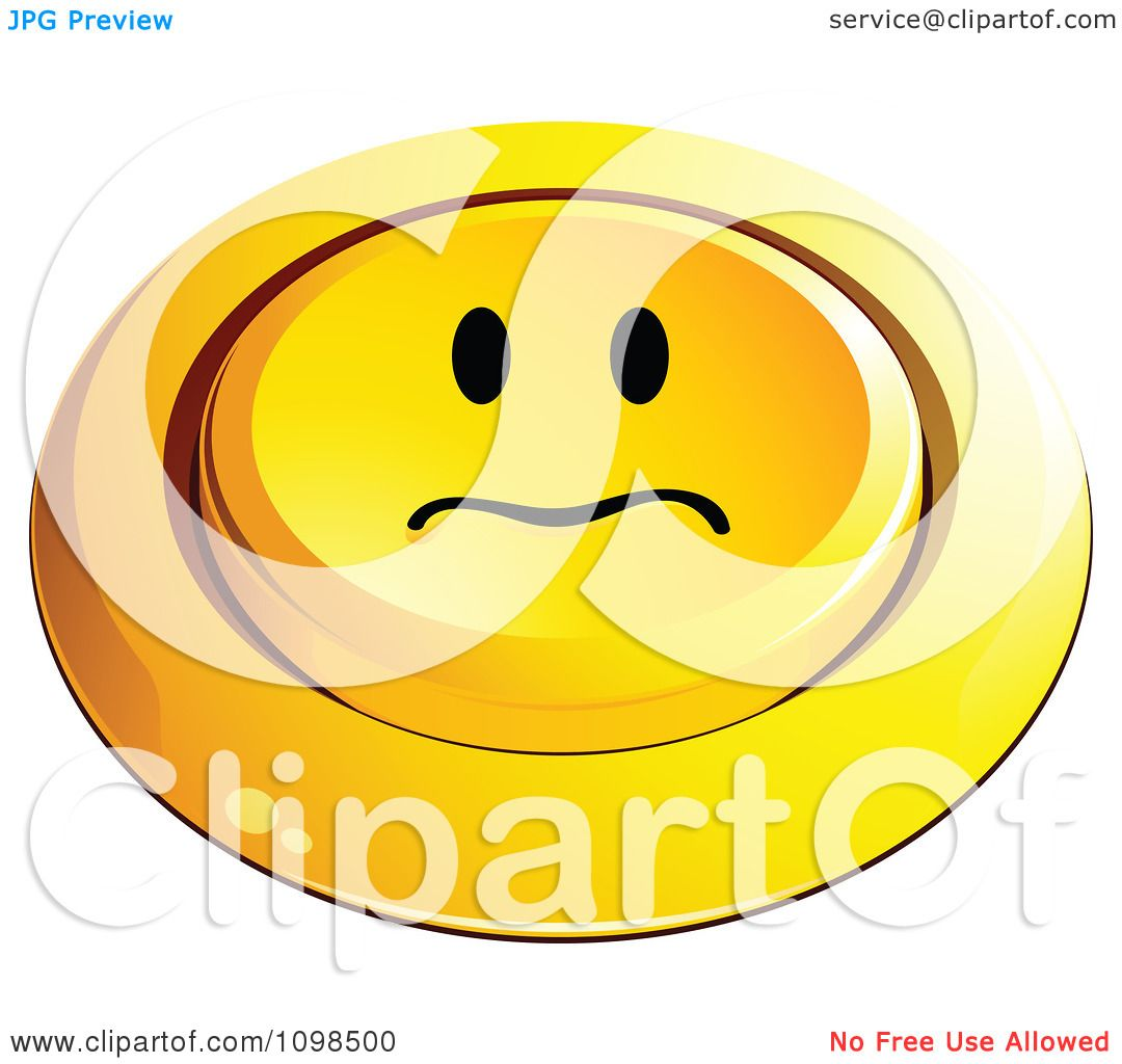 Clipart 3d Pushed Yellow Upset Button Smiley Emoticon Face Royalty