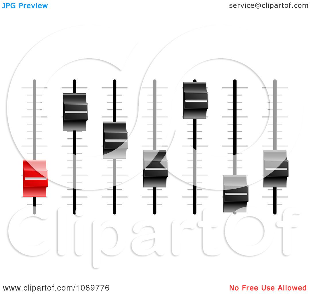 Clipart 3d Red And Black Slider Or Fader Control Knobs