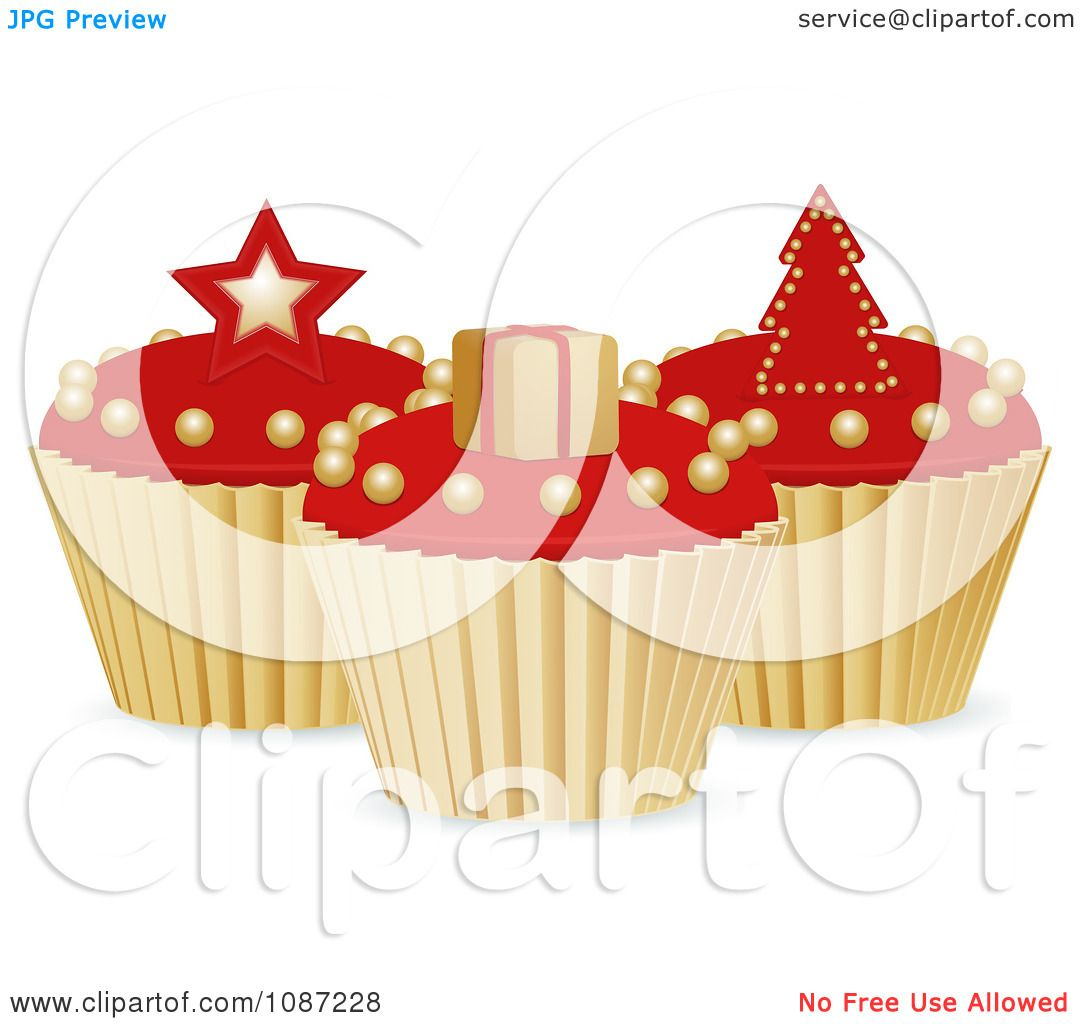 Clipart 3d Red And Gold Christmas Cupcakes With A Star ...