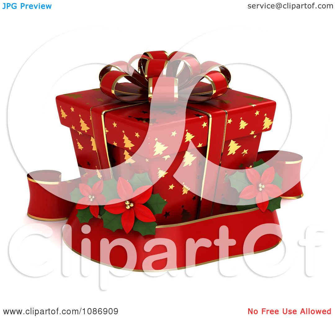 3d Christmas Tree Pattern: Clipart 3d Red Gift Box With Gold Christmas Tree Patterns