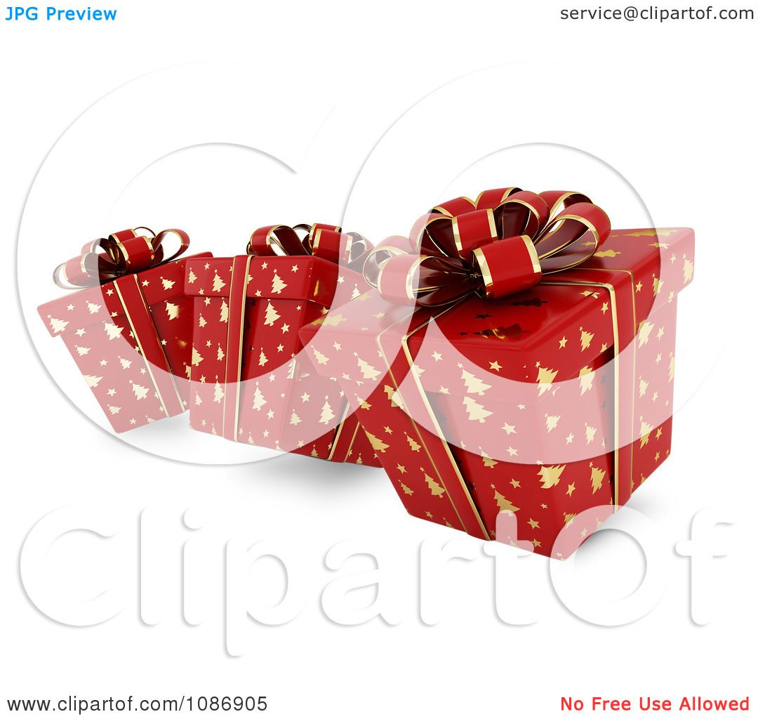 3d Christmas Tree Pattern: Clipart 3d Red Gift Boxes With Gold Christmas Tree