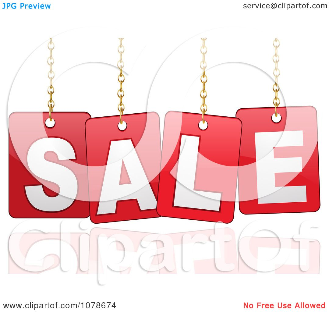 clipart 3d red hanging sale signs over a reflection