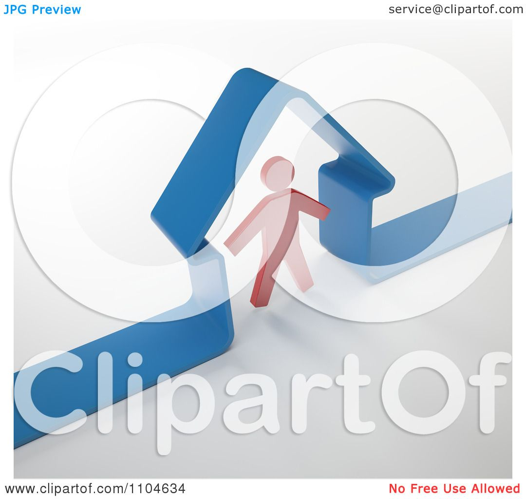 Clipart 3d Red Person Standing Under A Blue Home Frame