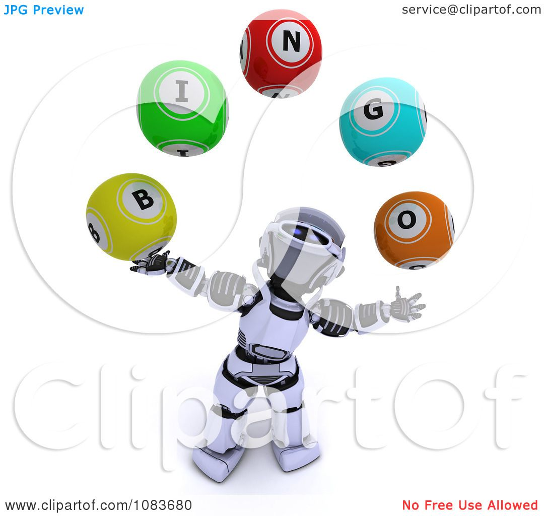 Clipart 3d Robot Juggling Bingo Balls - Royalty Free CGI ...