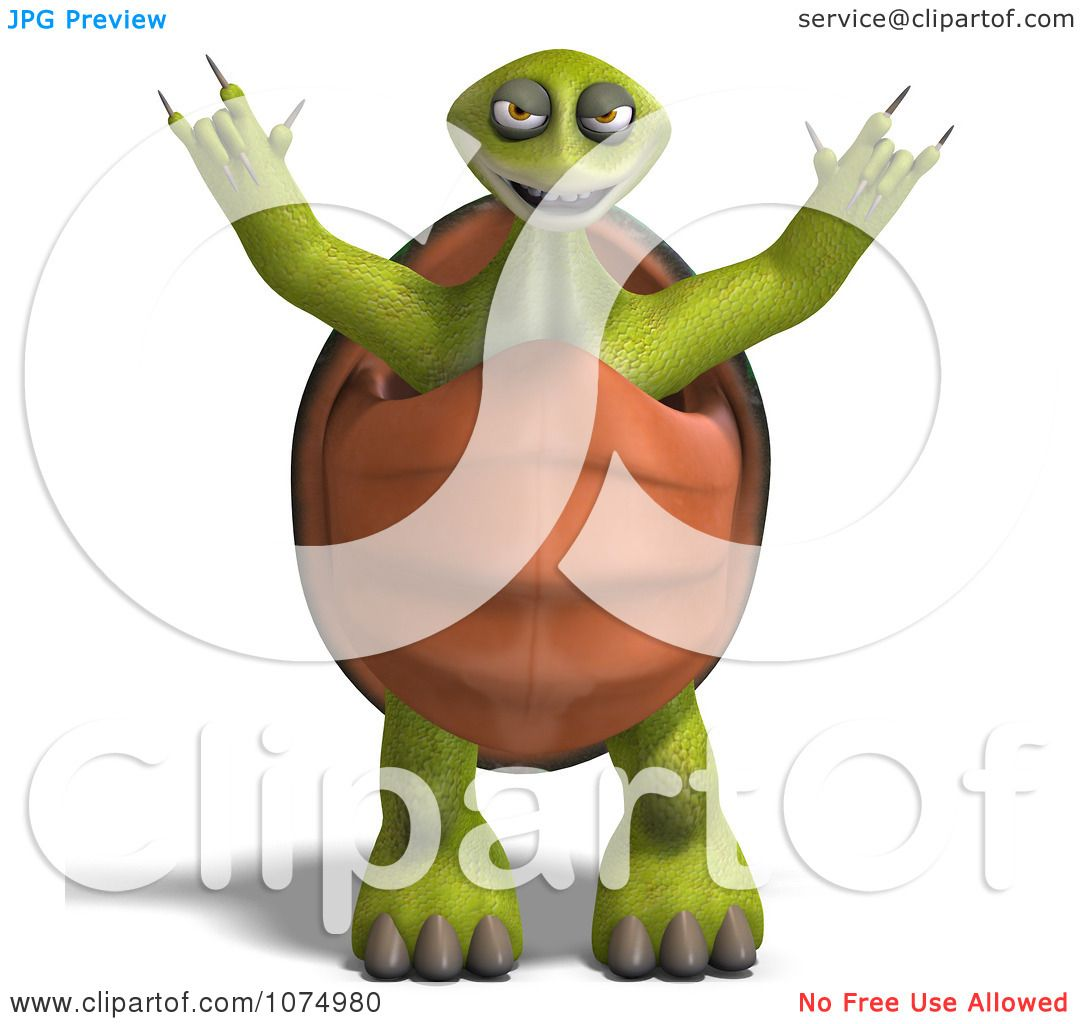 Clipart 3d Scary Tortoise Standing And Holding Up His Arms
