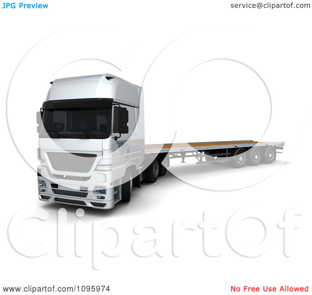 Clipart 3d Silver Lorry Big Rig Logistics Truck With A Flat Bed 1 ...
