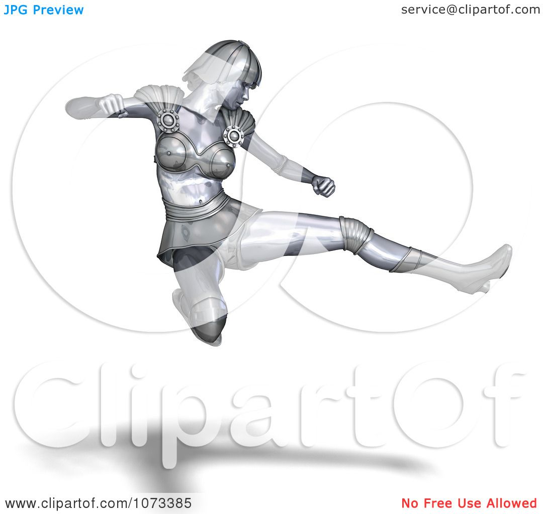 Clipart 3d Silver Super Woman In A Fighting Pose 1