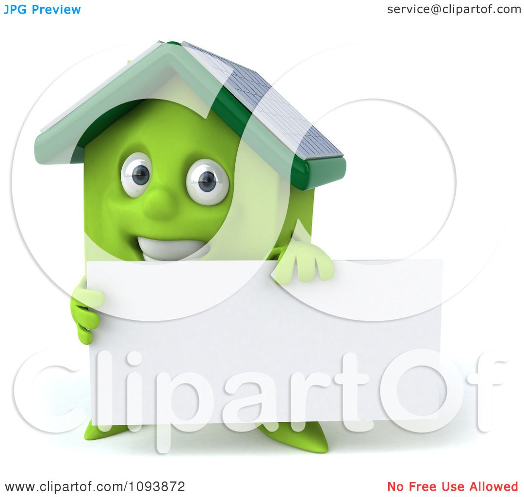 Clipart 3d Solar Powered Green House Holding A Sign 1 ...