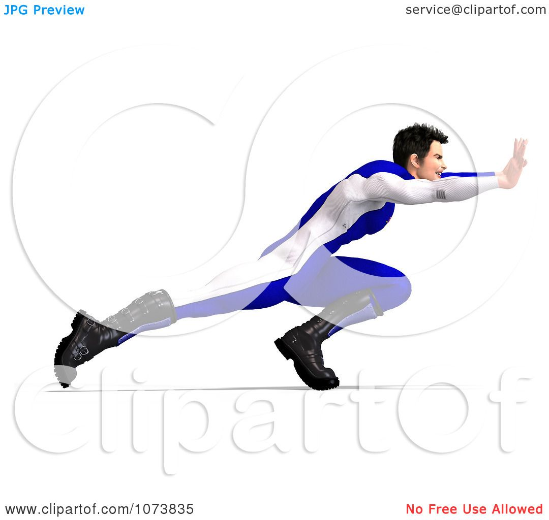 Clipart 3d Superhero Man Pushing In A Blue Suit Royalty