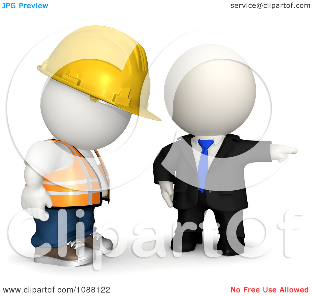 Clipart 3d Teeny White Businessman Firing A Contractor - Royalty Free ...
