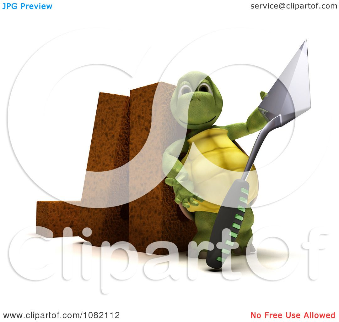 Illustrations Of A Trowel : Clipart d tortoise mason with a trowel and bricks