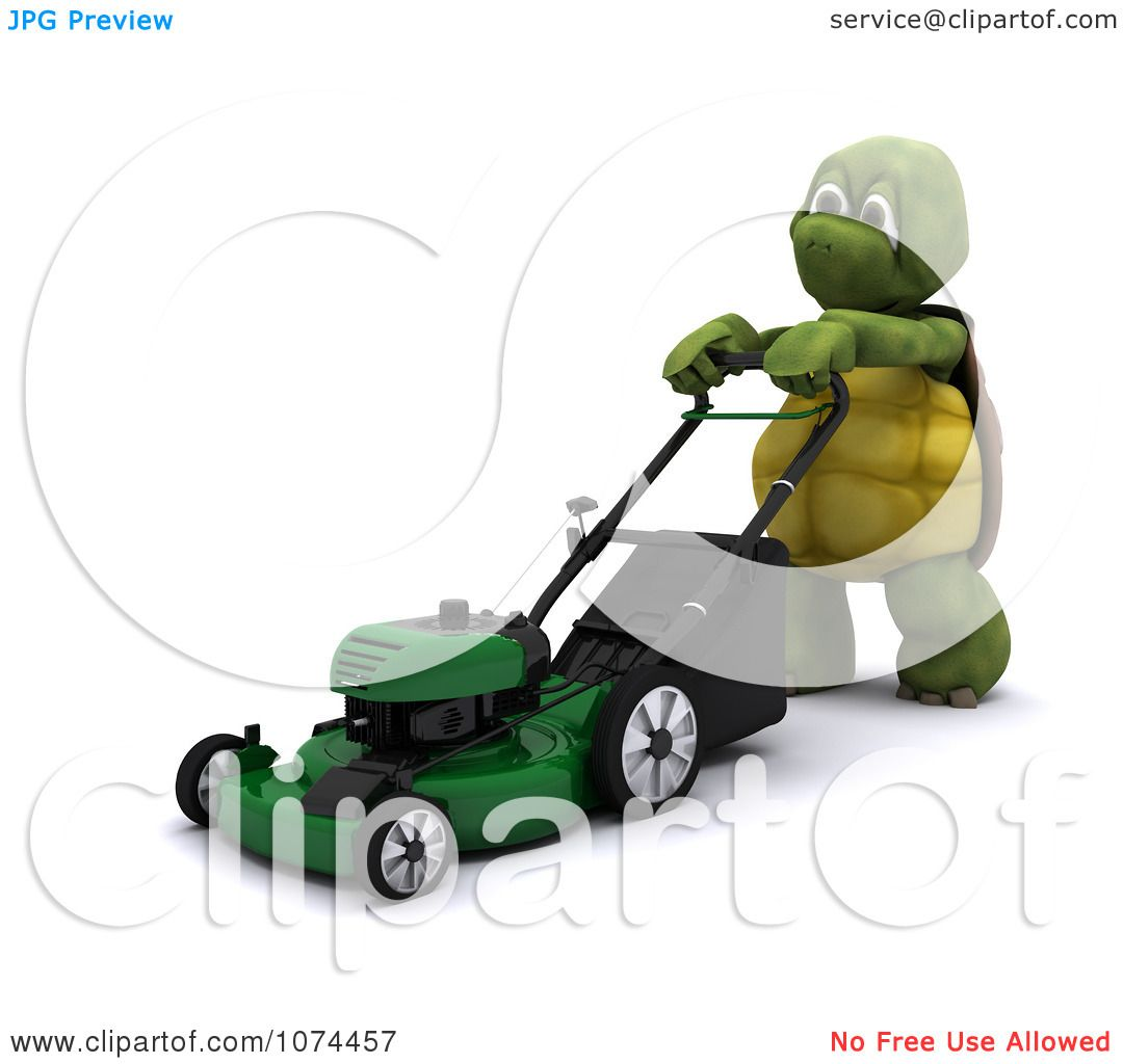 Clipart 3d Tortoise Pushing A Lawn Mower - Royalty Free CGI ...