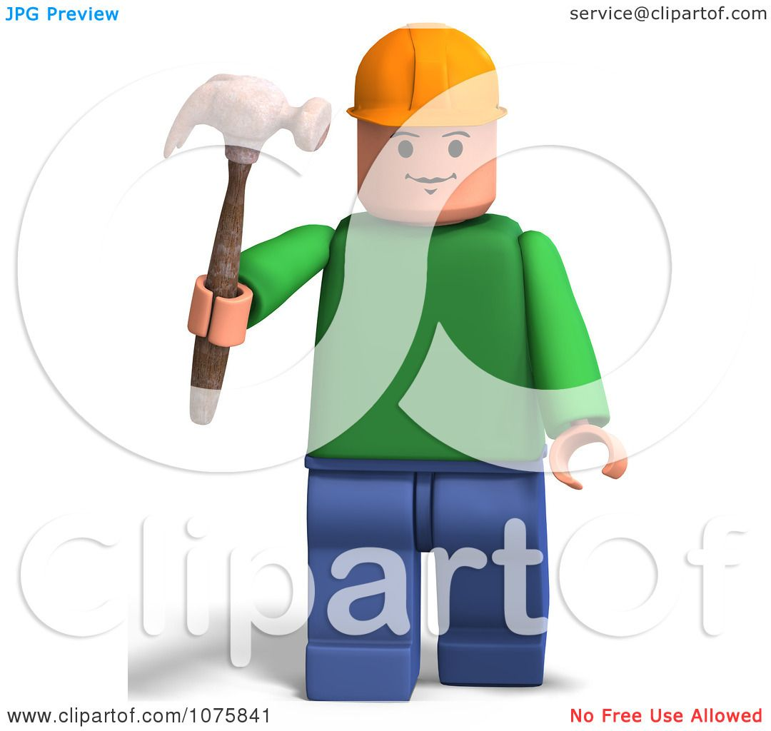 Clipart 3d Toy Man Construction Worker With A Hammer