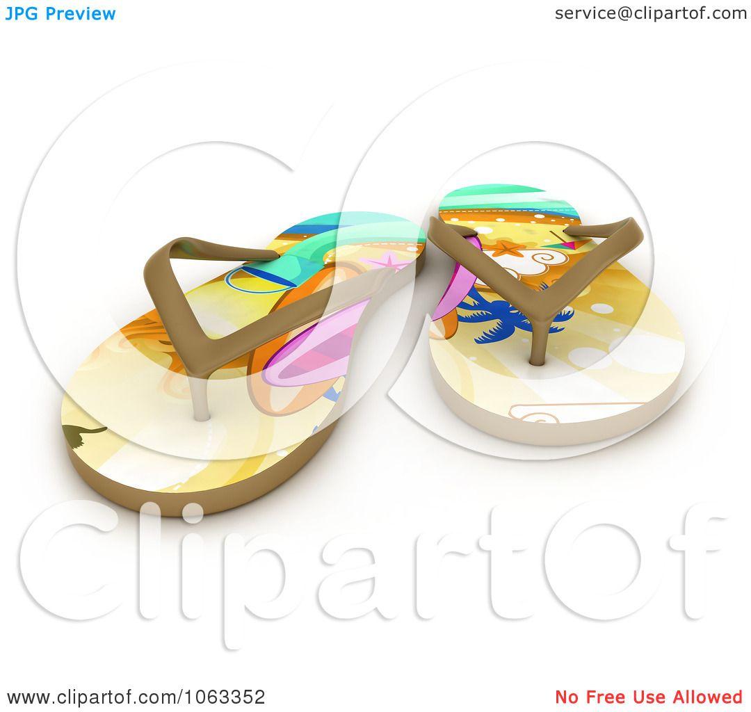 826e827fa71ce9 Clipart 3d Tropical Flip Flops Royalty Free CGI Illustration