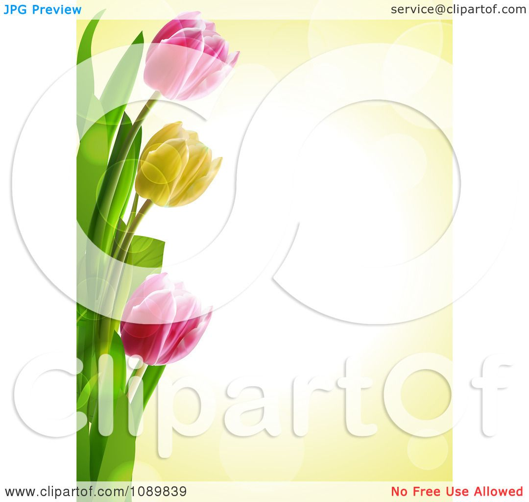 Clipart 3d Tulip Flower Border Over Yellow With Flares ... Tulips Border Clipart