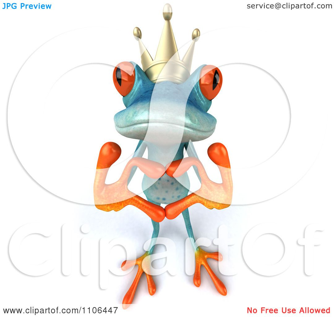 Clipart 3d Turquoise Springer Frog Prince Wearing A Crown And ...