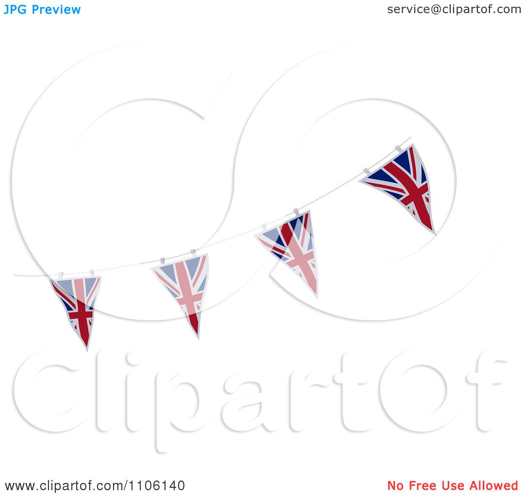 Clipart 3d Union Jack Bunting Banner Flags 2 - Royalty ...