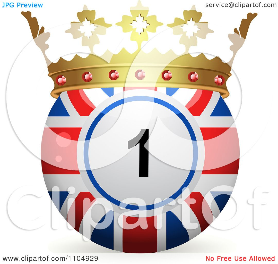 Clipart 3d Union Jack Flag Bingo Ball With A Crown - Royalty Free ...