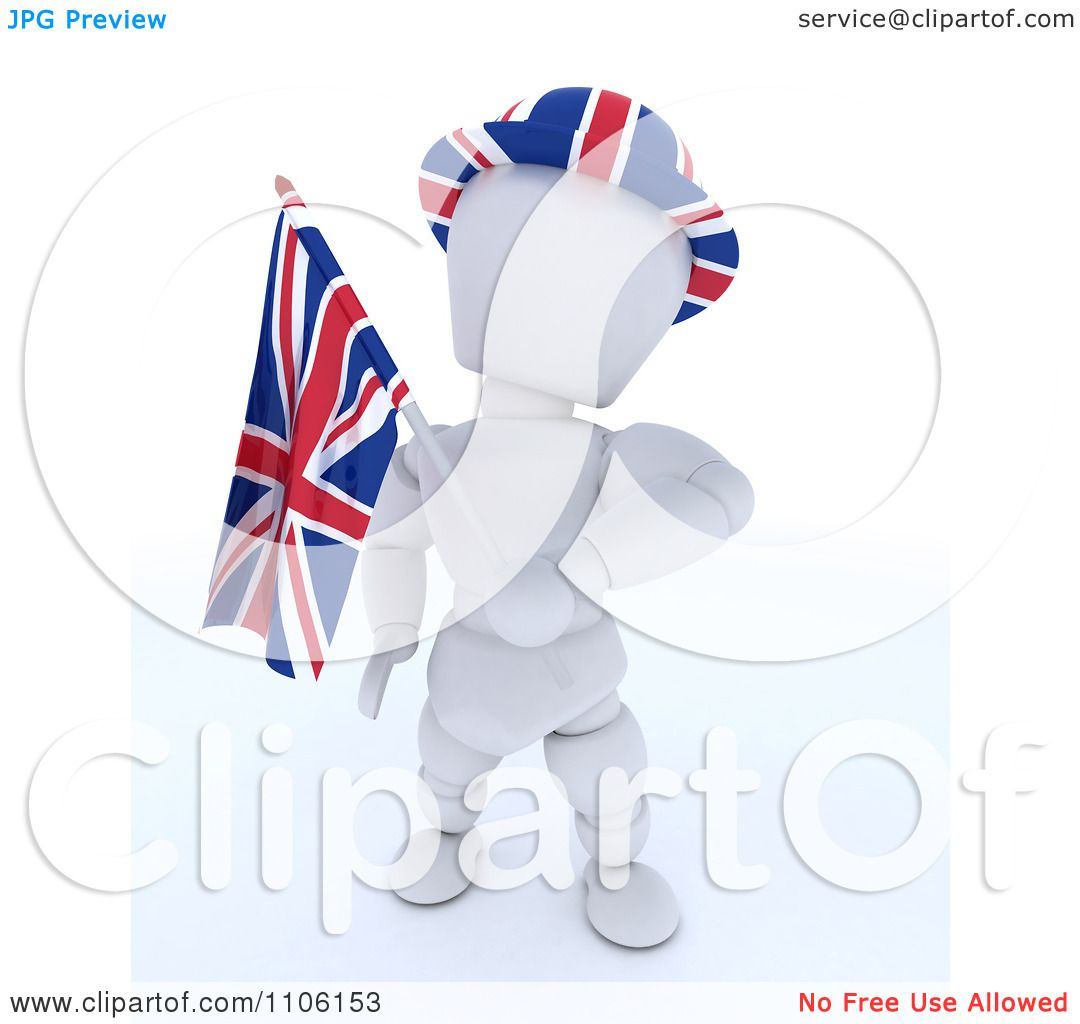 Clipart 3d Union Jack Jubilee British White Character With ...