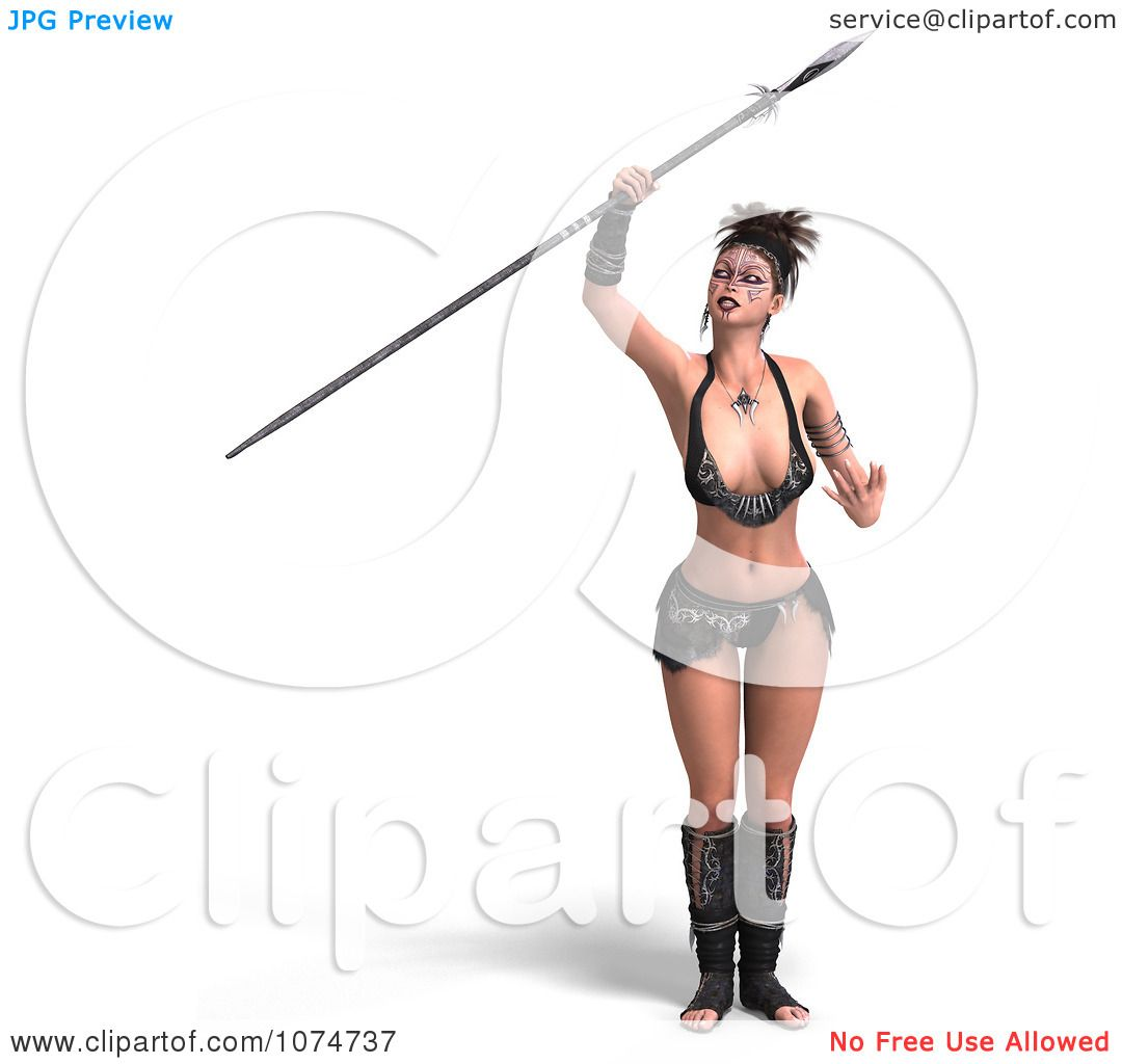 Clipart 3d Warrior Princess With A Spear 4 - Royalty Free CGI ...