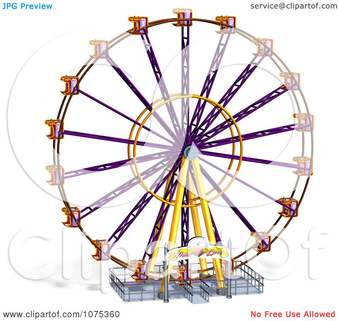 Clipart 3d Wheel Of Fun Ferris Wheel Carnival Ride 6 - Royalty ...