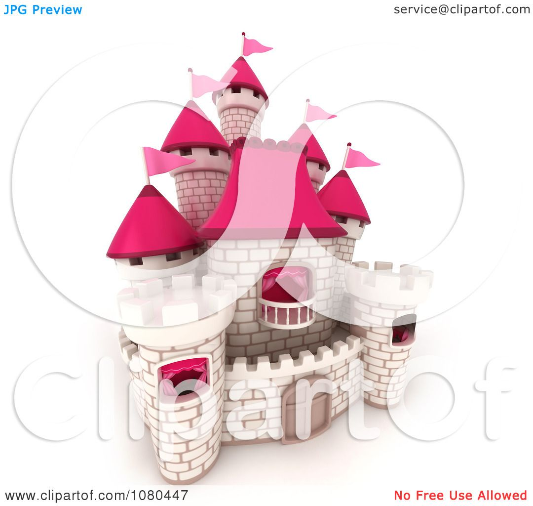 clipart 3d white brick castle with pink flags and turrets 1