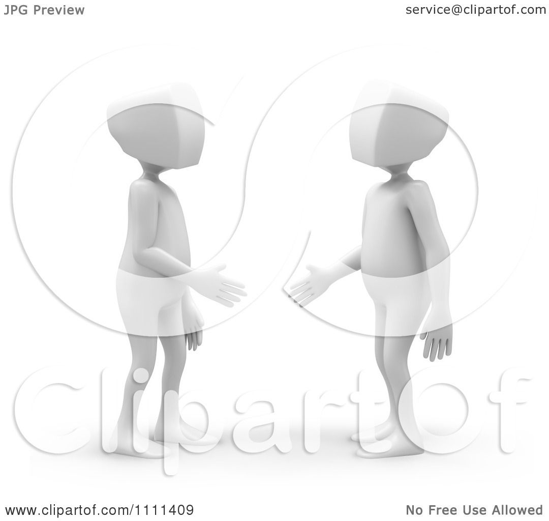 Clipart 3d White People Shaking Hands And Making Introductions ...