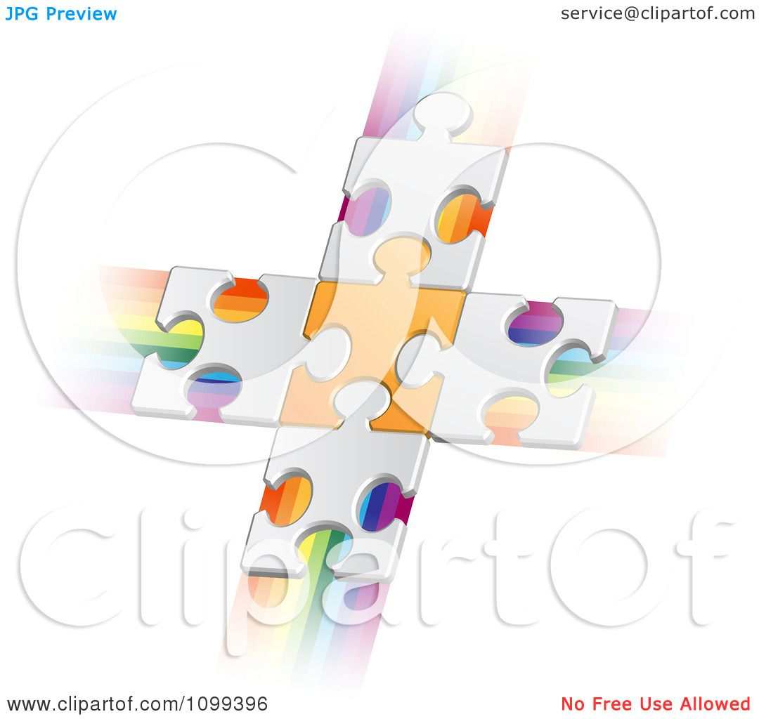 Clipart 3d White Puzzle Pieces Connected To An Orange Piece Forming A Cross Over Rainbow Streaks