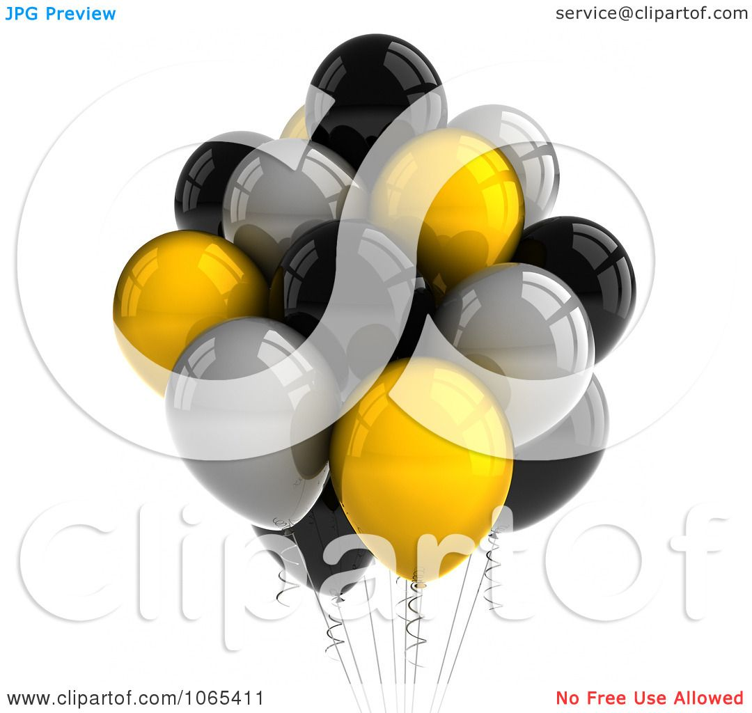 Clipart 3d Yellow Black And Silver Helium Party Balloons
